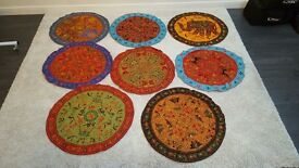 8 x Authentic Handmade Rajasthani Round Coffee Table covers/ overlays - India