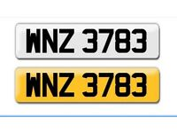 WNZ 3783 cheap private cherished personalised registration plate number fits any car truck motorbike