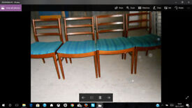 Four Dining Teak Chairs with Turquoise Fabric Seats