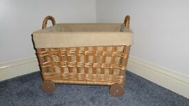 Wicker Storage Basket on Wheels with fabric lining