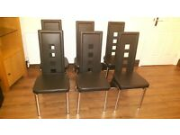 Set of 6 Modern Chrome and Black Faux Leather Dining Chairs