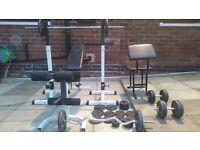 press bench squat rack dumbells
