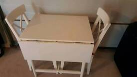 Ikea drop leaf table Ingatorp with 2 ikea Ingolf chair