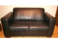 Three black leather sofas £60 each or £150 all 3