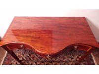 Antique Sheraton Mahogany Serpentine table, desk