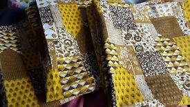 "Yellow/Brown/Mustard Vibtsge 70s Patterned Curtains As New 72"" Long, 64"" Wide"