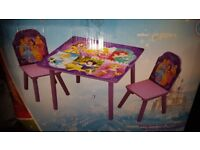 princess table and 2 chairs new boxed