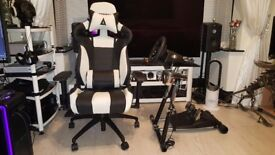 PC/Xbox compatible sim/arcade racing. Logitech G920 wheel pedals, race seat, shifter, stand