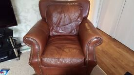 Leather 2 seater & armchair