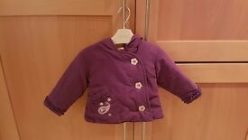 Baby Girl Autumn Hooded Jacket (6 to 9 months) - Brand: Mini Mode - Purple – £6