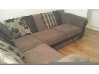 Brown fabric sofa DFS