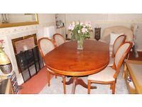 Solid Yew Dining Table and Chairs