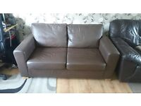 Brown Som'toile leather sofa bed (Offers Welcome)