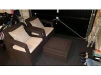 ***KETER 'Corfu' 3 Piece Dark Brown Plastic Rattan Patio Furniture Set***