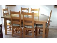 Solid Light Oak Dining Table and Six Chairs