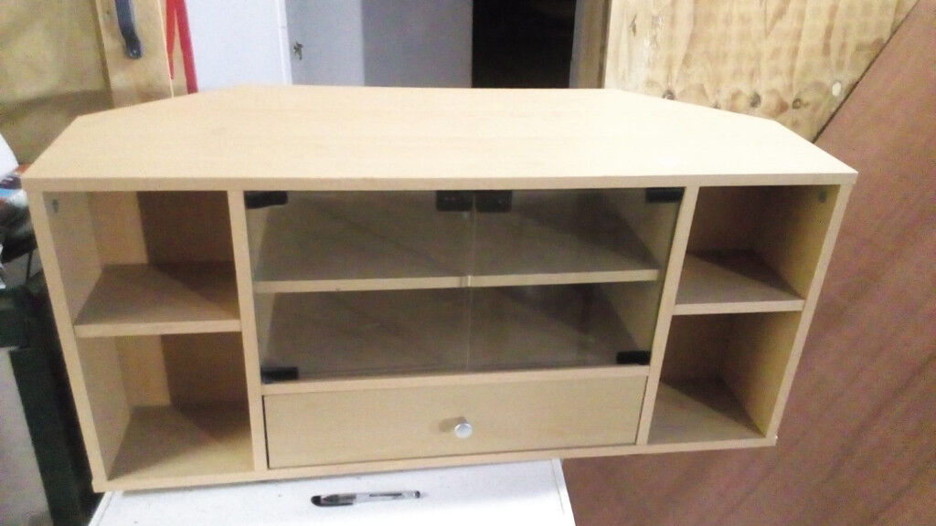 Long Tv Stand In Light Wood With Glass Sliding Doors In Sunderland