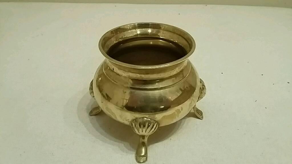 ornamental brass sugar bowl
