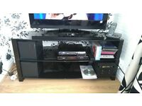 Black glass tv unit in mint condition