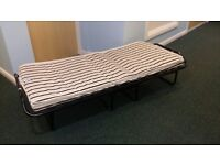 Metal Single Folding Guest Visitor Compact Bed With Mattress Fold Away