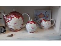 Fine bone china 3 piece tea set