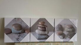 Set of 3 pebble canvas pictures brand new