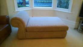 Cream Oatmeal Fabric Chaise Lounge Love Seat with large cushion
