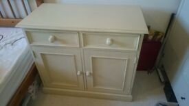 Small sideboard solid wood from Wearhouse Truro, cupboard in lace white colour, antique cream