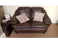 3 seater and 2 seater matching leather sofas