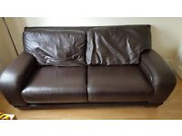 3 Seater Brown Leather Sofa DFS - Good condition - Free - Pick Up Only