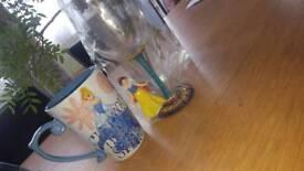 Cinderella Disney mug& snow white wine glass