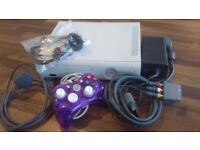 Working Xbox 360, Cables, Purple Controller and Unused Headset