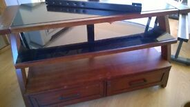 Wood and glass sideboard tv unit 2 drawers can deliver