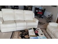 SOFA X 2 - LEATHER DORCHESTER 3 SEAT & 2 SEAT RECLINERS IN IVORY - SINGLE PERSON USE FROM NEW