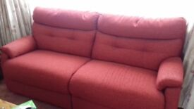 2x 3 seater Red Sofas - as new