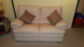 Leather 2 seater cream sofa