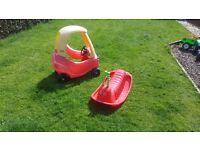 Little tykes bubble car and snail rocker