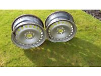 two 16 inch steel wheel rims suitable for a Ford Focus