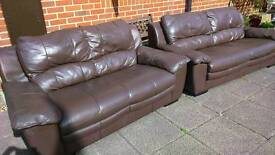 Leather sofas 3 and 2 seater