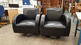 Retro black leather swivel chairs (2 available)