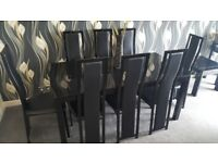 Dining table and 8 chairs,Noire black glass,extendable,immaculate condition!!