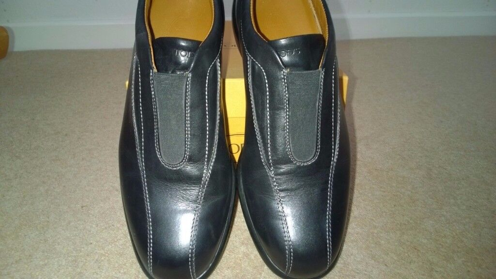 TOD's Black Leather or Brown Suede Loafers Size 7 1/2