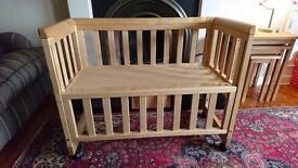 Troll bedside / next to me baby crib, natural solid pine wood
