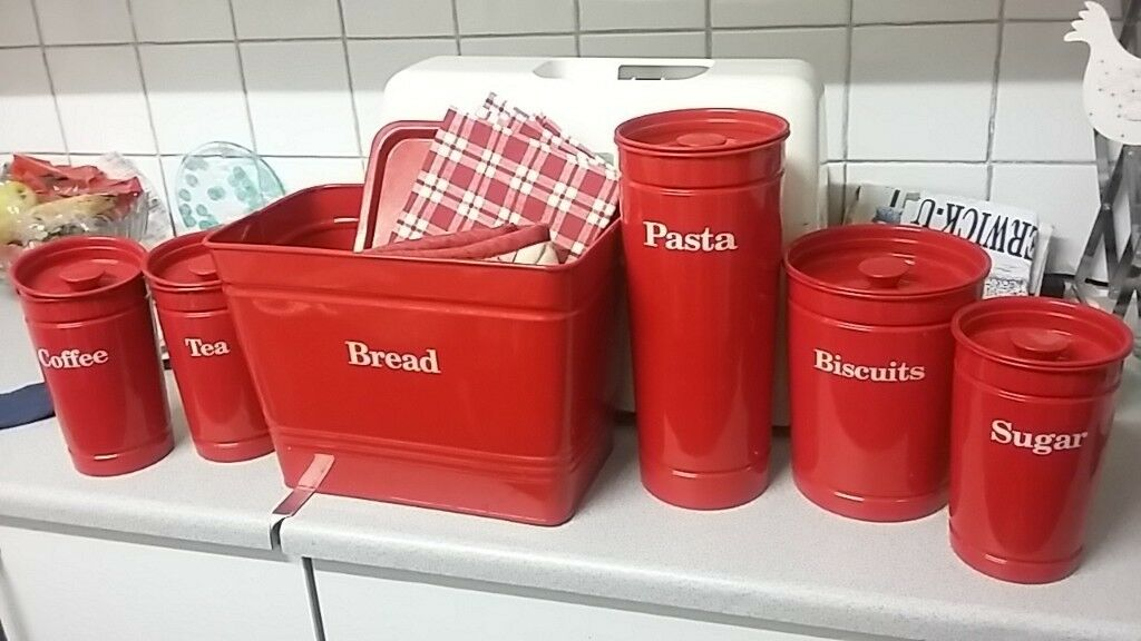 Red Marks And Spencers Kitchen Canisters Immaculate Condition