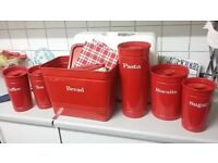Red marks and spencers red kitchen canisters immaculate condition