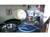 cups and plates colander glasses