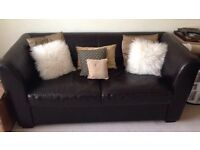 2 seater sofa bed, brown leather effect