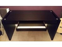 Stylish black acrylic desk with wood effect finish. Excellent condition.