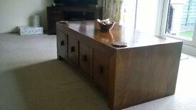 Mango wood chest table.