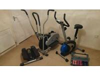 Cross Trainer, Exercise Bike, Lateral Thigh Trainer and box set of weights