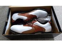 Mens RAM Golf Shoes White/Tan (Size UK 10.5) Condition - AS NEW